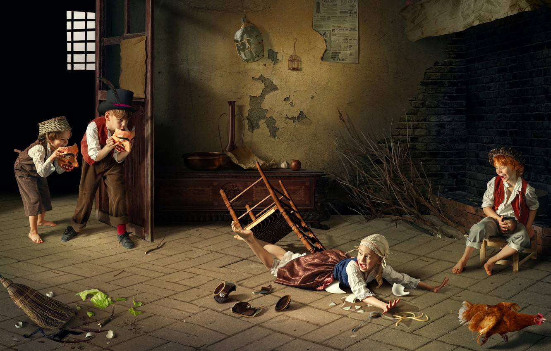 Фото обои дети, девочки, курица, мальчики, Дмитрий Усанин, озорники