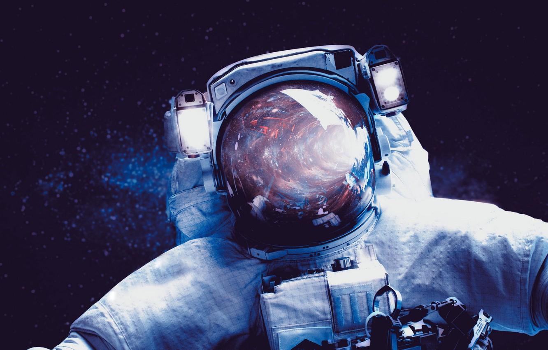 Фото обои космос, космонавт, скафандр
