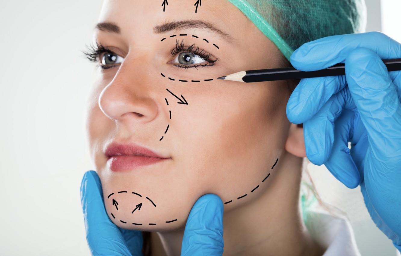 Фото обои woman, lines, face, surgeon, measures