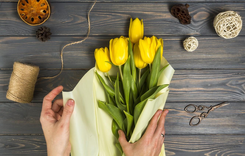 Фото обои цветы, бумага, букет, тюльпаны, wood, упаковка