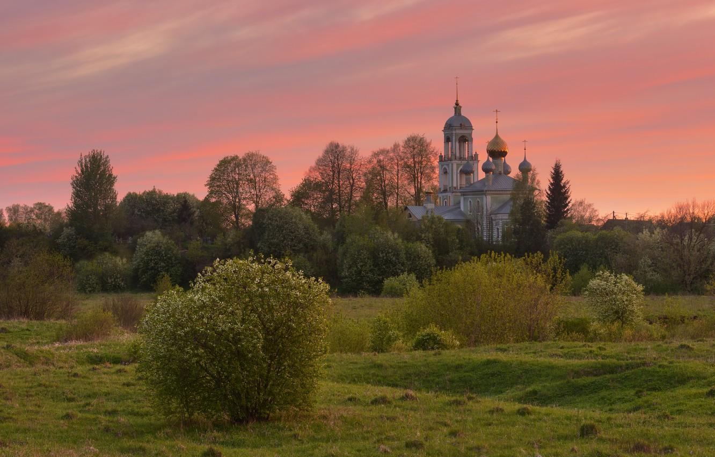 Фото обои закат, природа, весна, вечер, церковь, Максим Евдокимов