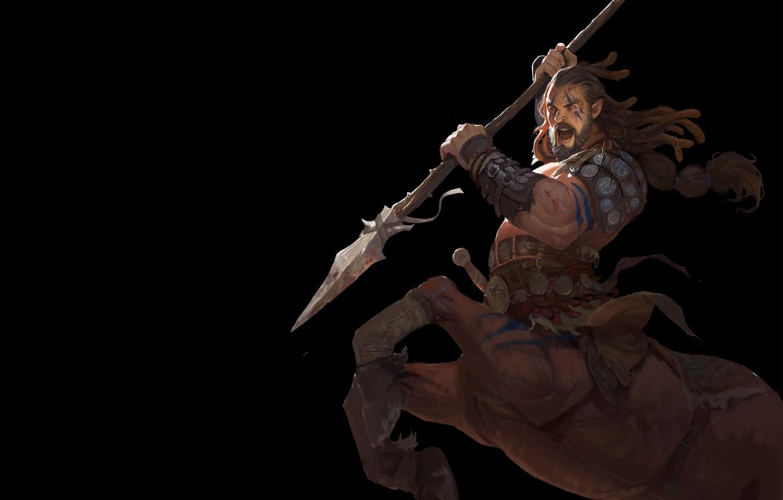 Фото обои воин, фэнтези, арт, кентавр, Sagittarius, 王 建喜