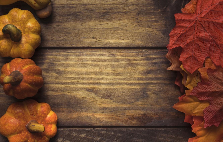 Фото обои осень, листья, фон, дерево, доски, colorful, тыква, клен, wood, background, autumn, leaves, осенние, pumpkin, maple
