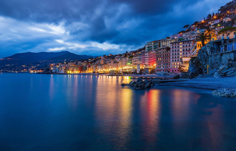 Фото обои море, побережье, здания, дома, Италия, ночной город, Italy, Лигурийское море, Camogli, Лигурия, Liguria, Камольи, Ligurian …