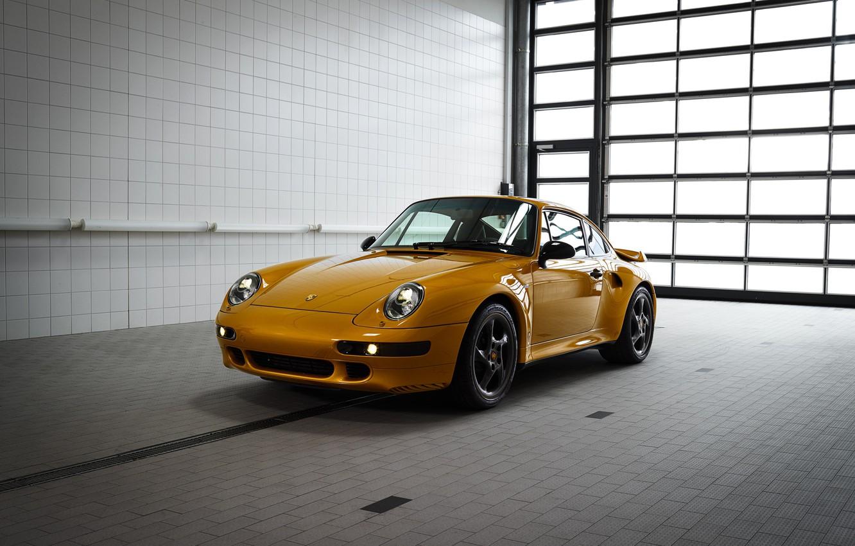 Фото обои жёлтый, Porsche, кузов, 993, 911 Turbo