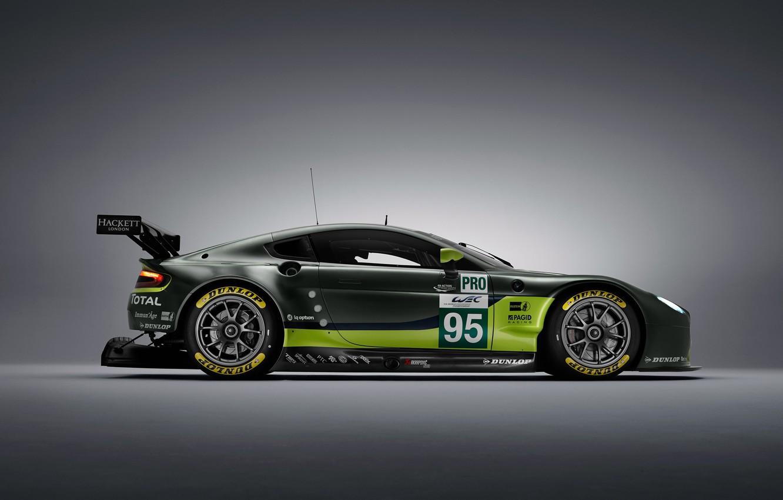 Фото обои Aston Martin, Vantage, Колеса, Машина, Диски, Sport, GTE, Спойлер, V8