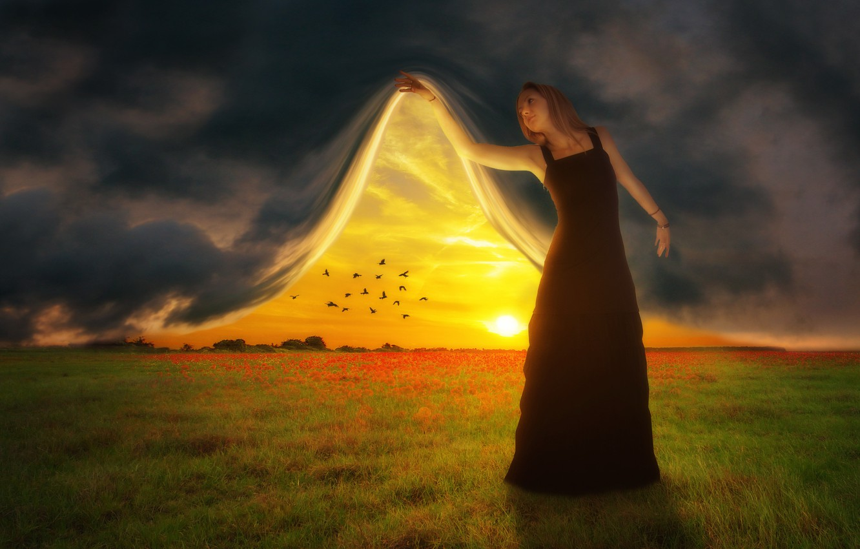 Фото обои поле, небо, закат, птицы, фотошоп, занавес, девушка art