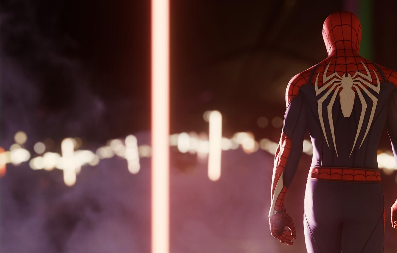 Фото обои City, Peter Parker, Spider man, PS4