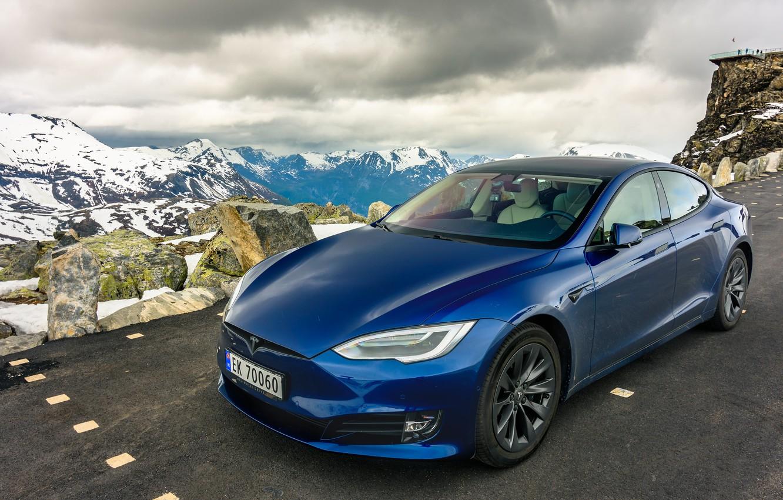 Фото обои дорога, горы, Tesla, Model S