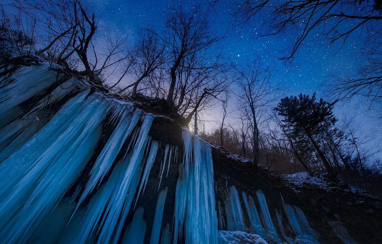 Фото обои Japan, trees, nature, night, winter, snow, stars, waterfall, frozen water