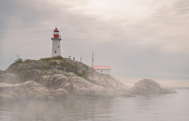 Фото обои море, природа, туман, дом, скалы, маяк