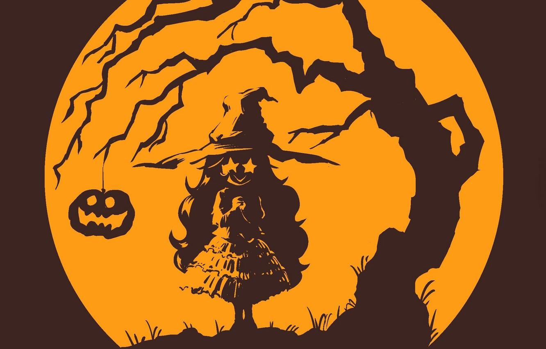 Фото обои Halloween, ведьма, полнолуние, хеллоуин, светильник Джека, горящие глаза, witch, шляпа ведьмы, адская ухмылка, корявое дерево