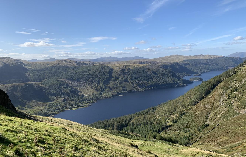 Фото обои Sky, Mountains, Lake, Cumbrian Mountains, Helvellyn