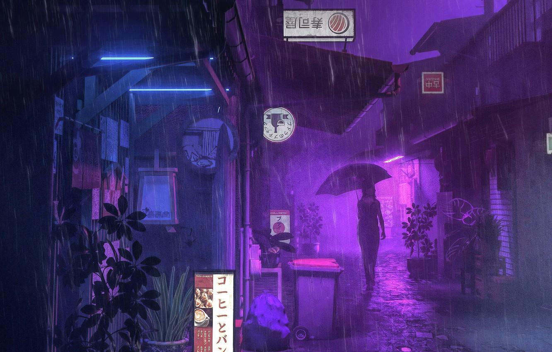 Фото обои девушка, ночь, дождь, улица, зонт, реклама, силуэт, вывески