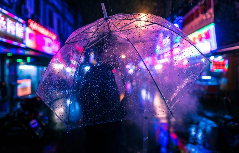 Фото обои капли, ночь, огни, дождь, человек, зонт, боке