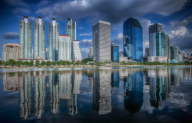 Фото обои город, река, здания, Тайланд, Бангкок