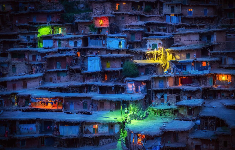Фото обои ночь, огни, вечер, деревня, домики, Иран, трущобы, Sar Aqa Seyyed