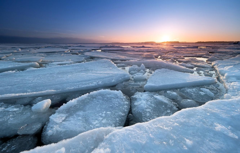 Фото обои море, закат, лёд