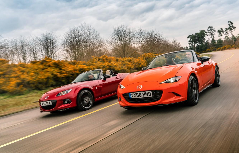 Фото обои оранжевый, красный, Mazda, MX-5, родстеры, четвёртое поколение (ND), третье поколение (NC)