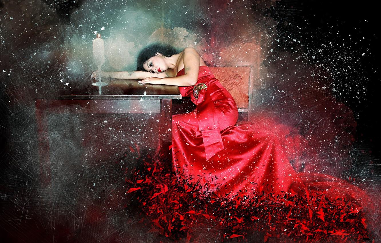 Фото обои фон, свеча, платье, столик, девушка art