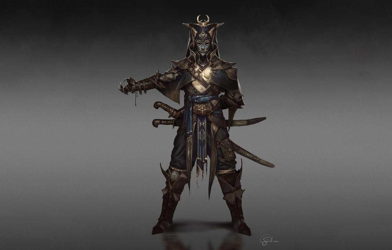 Фото обои Fantasy, Art, Warrior, Minimalism, Sword, Soldier, Mask, Characters, Armor, Swords, Ottoman, Gianluca Rolli, Ottoman Janissary