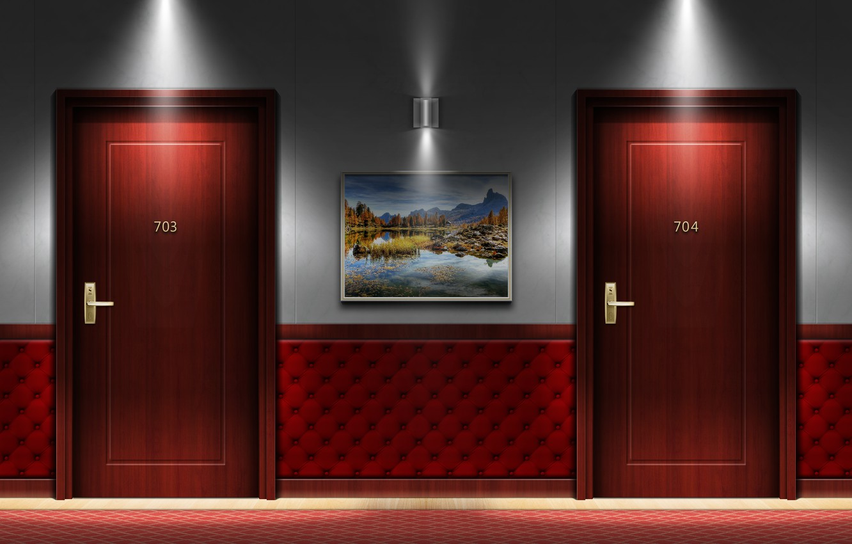 Фото обои hotel, interior, door, hallway, my works