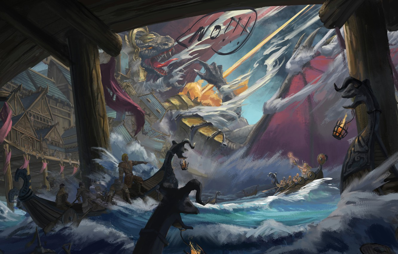 Фото обои Вода, Рисунок, Дракон, Бой, Dragon, Арт, Concept Art, Viking, Викинги, Jinheng LI, By Jinheng LI