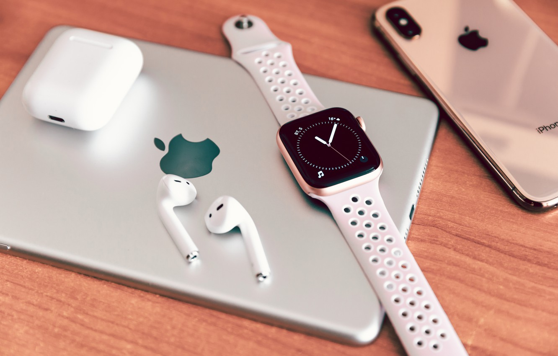 Фото обои яблоко, телефон, планшет, епл