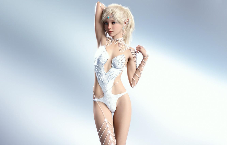 Фото обои girl, sexy, boobs, anime, beautiful, pretty, erotic, blonde, elf, rendering, swimsuit, attractive, handsome