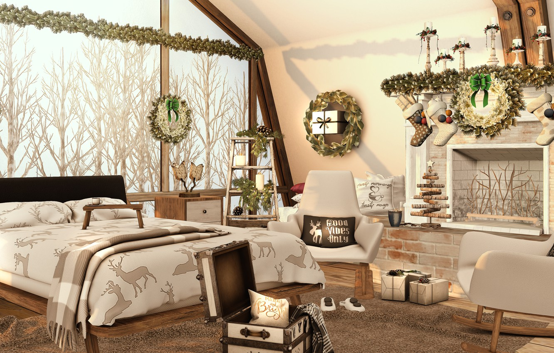 Фото обои деревья, дизайн, комната, кровать, окно, christmas, trees, winter, window, room, bed, 3D графика, bedroom, christmas …