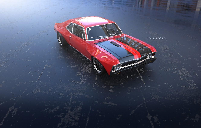 Фото обои Авто, Chevrolet Chevelle SS, Chevrolet, Машина, Chevelle, Рендеринг, Chevrolet SS, Rostislav Prokop, by Rostislav Prokop