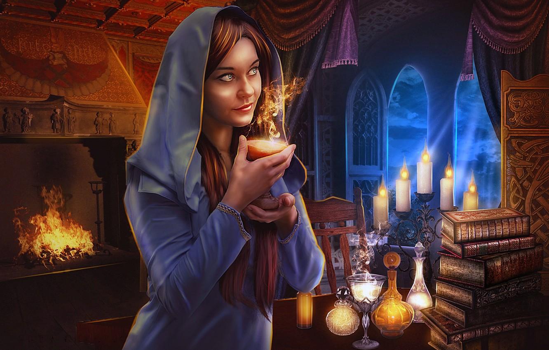 Фото обои огонь, свечи, волшебница, кабинет