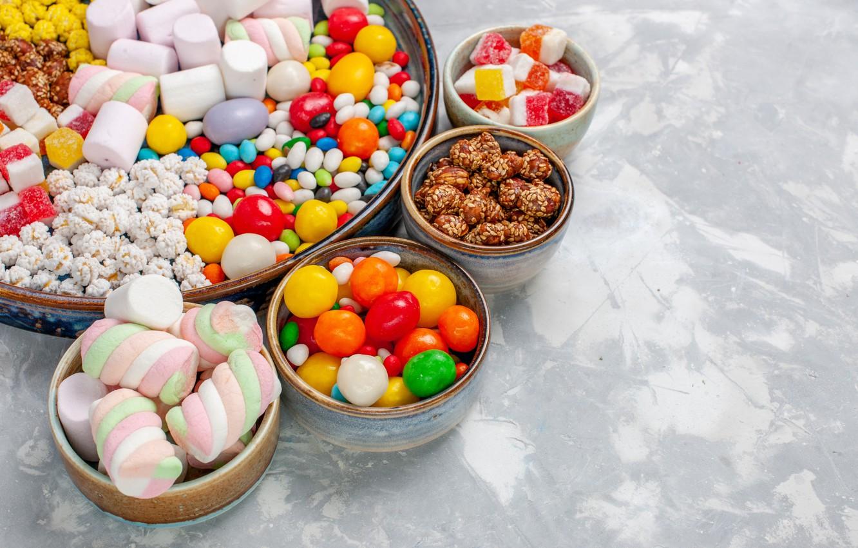 Фото обои конфеты, сладости, драже, маршмеллоу