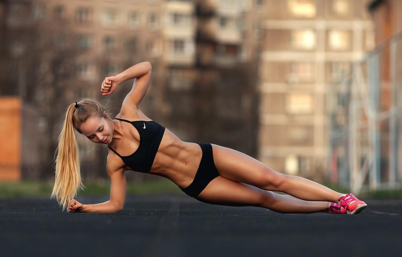 Фото обои sport, girl, woman, model, blonde, body, fitness, tanned