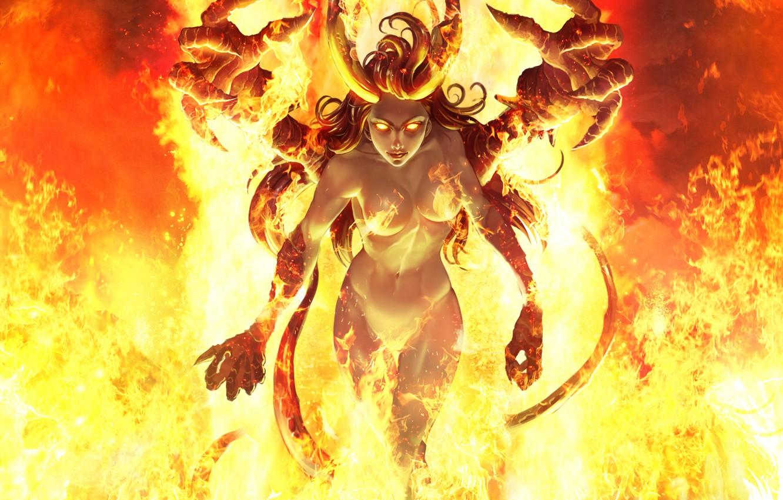Фото обои Девушка, Огонь, Стиль, Girl, Hell, Пламя, Демон, Fantasy, Fire, Арт, Art, Devil, Суккуб, Flame, Style, …