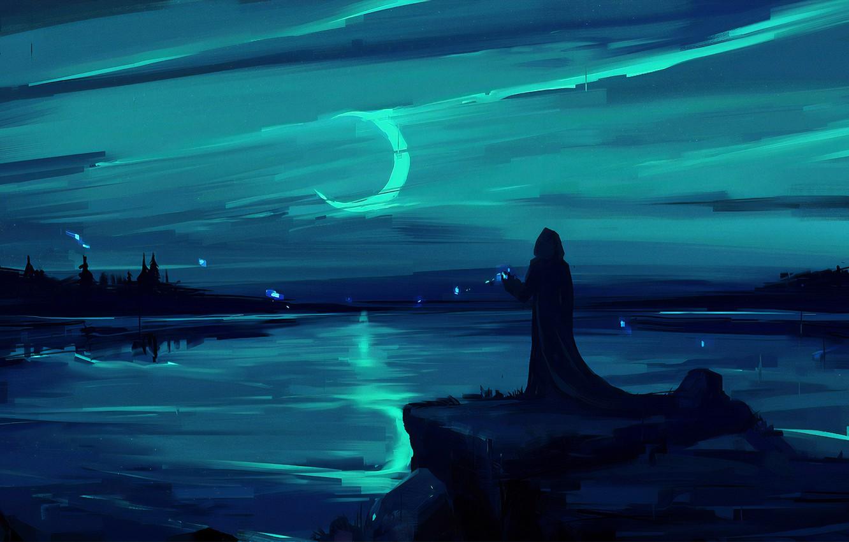 Фото обои moon, fantasy, magic, landscape, night, figure, lake, man, painting, digital art, artwork, environment, fantasy art, …