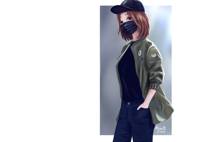 Фото обои девушка, джинсы, куртка, белый фон, бейсболка, медицинская маска, by dante rh