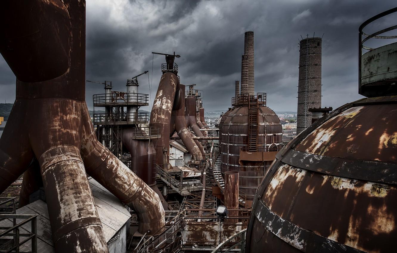 Фото обои пейзаж, завод, фабрика