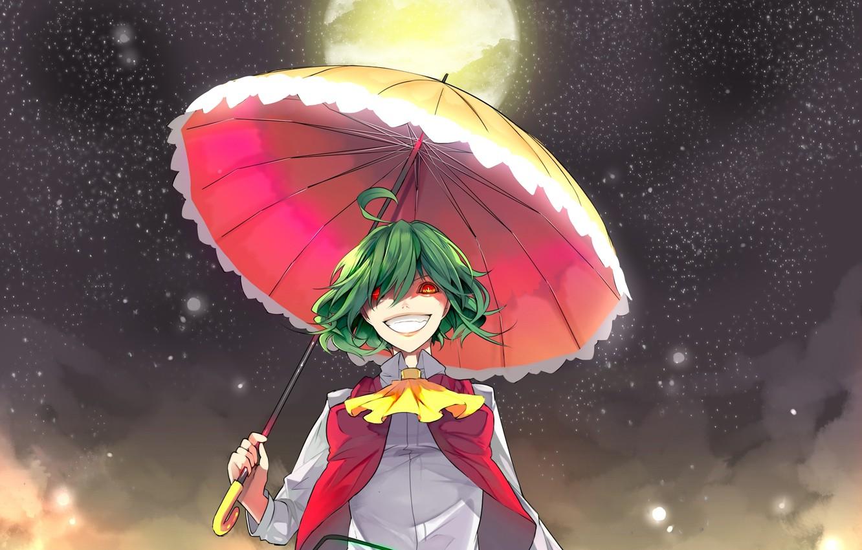 Фото обои полнолуние, красные глаза, ночью, под зонтом, адская ухмылка, Kazami Yuuka, проект Восток, маньячка, touhou project, …