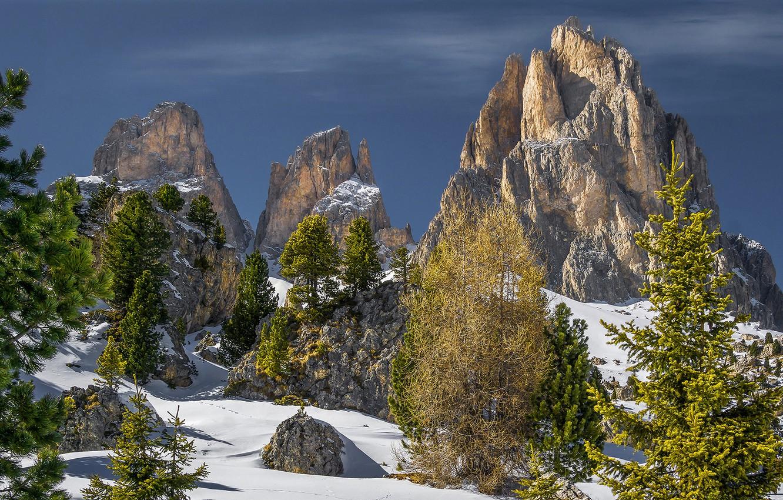 Фото обои зима, небо, солнце, снег, деревья, камни, скалы, Альпы, Италия, Trentino, Canazei