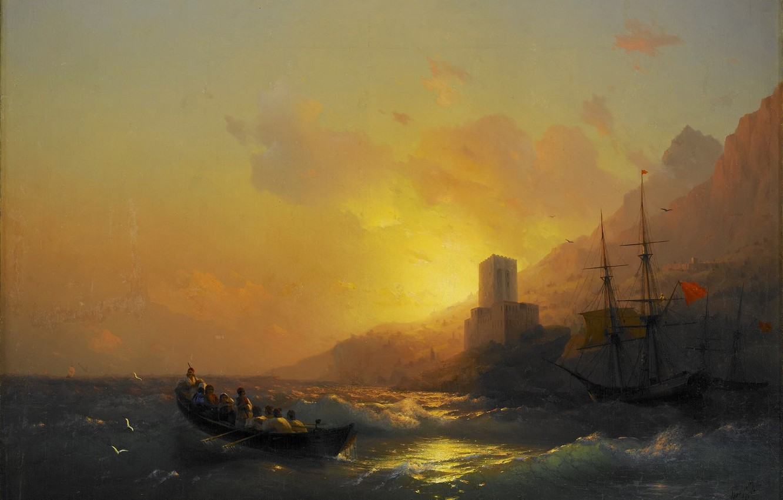 Фото обои лодка, башня, картина, морской пейзаж, Иван Айвазовский, Закат над Великой Лаврой на Горе Афон, 1846