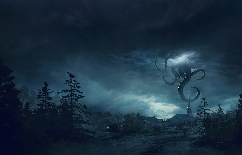 Фото обои Ночь, Город, Лес, Монстр, Тучи, Щупальцы, Fantasy, Арт, Lovecraft, Science Fiction, Guillem H. Pongiluppi, Environments, …