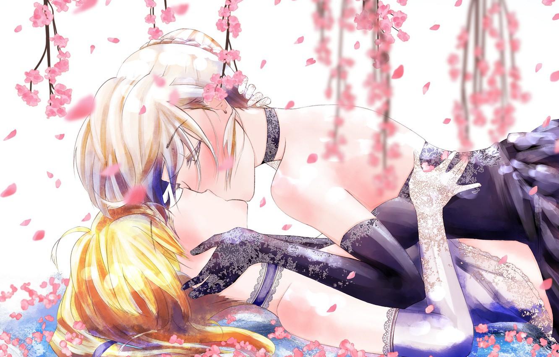 Фото обои цветы, девушки, поцелуй, сакура, Fate / Grand Order, Судьба великая кампания