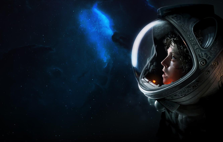 Фото обои Звезды, Скафандр, Космос, Чужой, Stars, Space, Alien, Nebula, Пространство, Эллен Рипли, Ellen Ripley, Brian Taylor, …