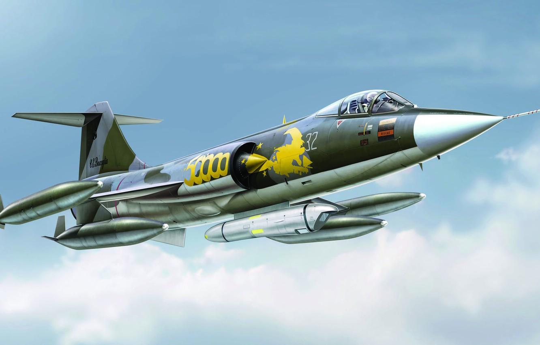 Обои Lockheed, истребитель-перехватчик, рисунок, starfighter, F-104. Авиация foto 12
