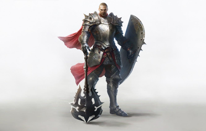 Фото обои Fantasy, Art, Style, Warrior, Minimalism, Characters, Shield, Armor, Erak note, Twilight Resistance, Lineage Eternal