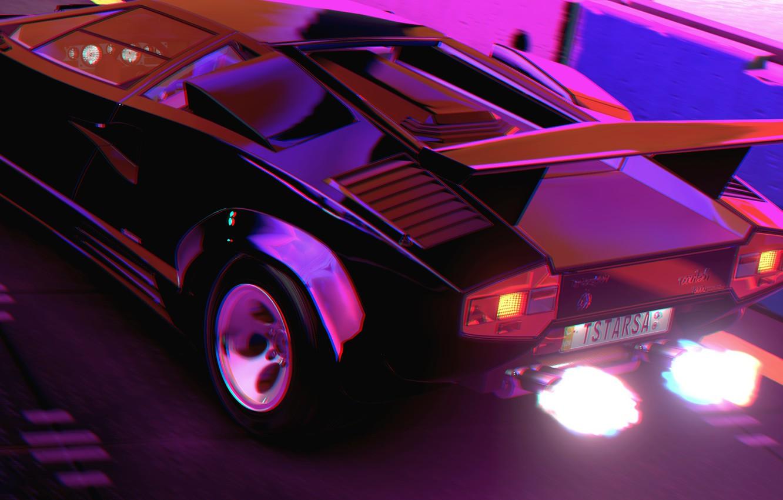 Фото обои Музыка, Lamborghini, Огонь, 80s, Neon, Countach, Рендеринг, Lamborghini Countach, 80's, Synth, Retrowave, Synthwave, New Retro ...