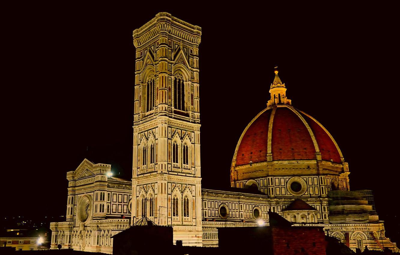Обои собор санта-мария-дель-фьоре, купол, флоренция, дома, колокольня Джотто. Города foto 18