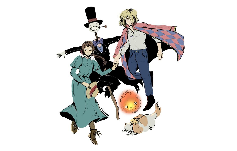 Фото обои девушка, огонь, собака, аниме, арт, парень, Софи, персонажи, пугало, Ходячий замок Хаула, Howl's Moving Castle, …