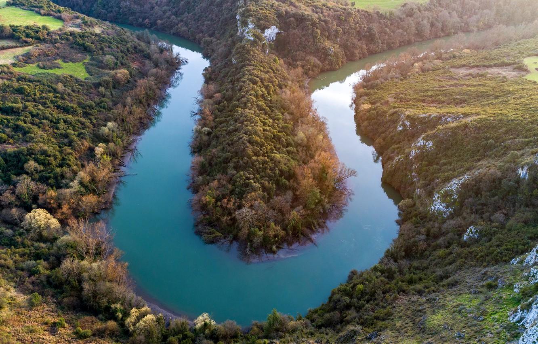 Фото обои солнце, деревья, река, холмы, поля, Испания, вид сверху, Asturias, Oviedo